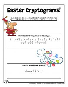 Easter Cryptogram Riddle Word Puzzle