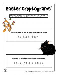 Easter Secret Code Word Puzzle - KEY