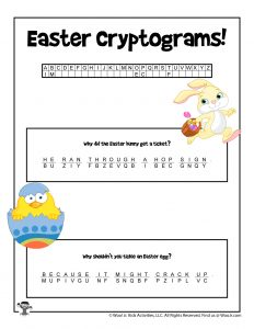 Easter Cryptogram Code Puzzle for Kids - KEY