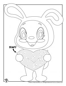 Easter Bunny Heart Maze Puzzle for Kids