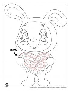 Easter Bunny Heart Maze Puzzle for Kids - KEY