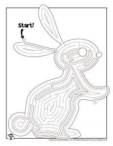 Printable Easter Rabbit Maze Worksheet - KEY
