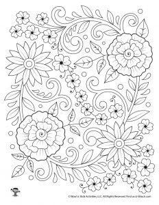 Flower Arrangement Adult Coloring Page Printable