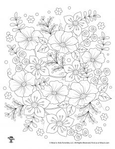 Flowers Printable Adult Coloring Page