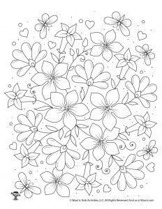 Flowers Adult Coloring Page to Print