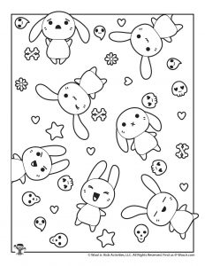 Kawaii Bunnies to Color