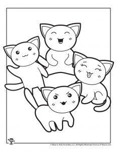 Kawaii Kittens Printable Coloring Page