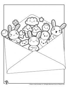 Kawaii Mail Page to Color