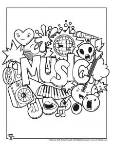 Kawaii Music Coloring Page