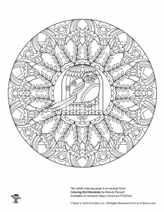 Bird Mandala Adult Coloring Page to Print