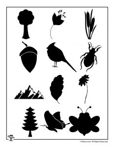 Combined Nature Silhouette Printable Patterns