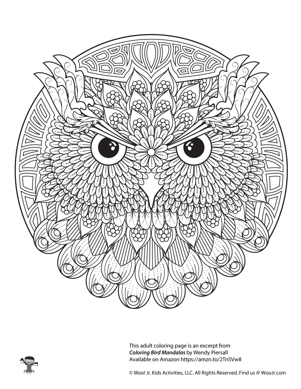 Owl Adult Mandala Coloring Page | Woo! Jr. Kids Activities