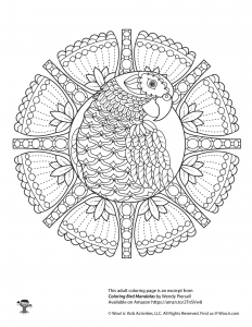 Parrot Adult Coloring Mandala Printable