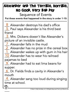 Sequence of Events Worksheet - KEY