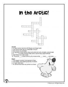 Arctic Animals Crossword Puzzle Printout