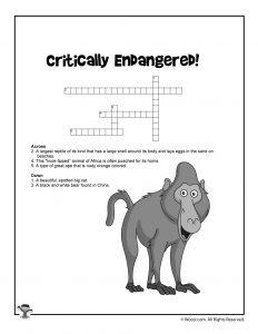 Endangered Animal Kids Printable Crossword Puzzle