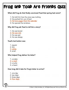 Frog and Toad Are Friends Quiz - Answer KEY
