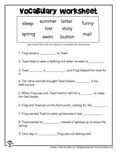 Frog and Toad Are Friends Vocabulary Worksheet