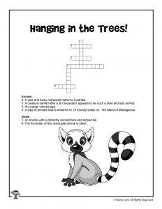 Lemur Crossword Free Puzzle for Kids