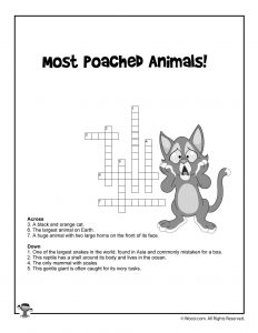 Poached Animals Crossword Puzzle Worksheet