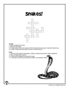 Snakes Word Puzzle to Print