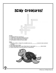 Turtle Crossword Puzzle for Kids