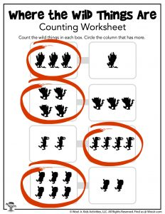 Wild Things Counting Worksheet - ANSWERS