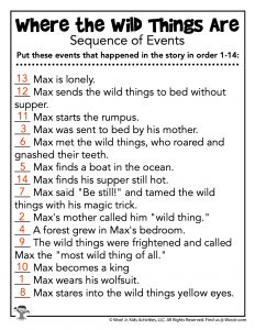 Sequence of Events Reading Worksheet - KEY