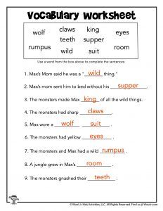 Wild Things Reading Vocabulary Worksheet - KEY