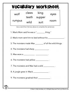 Wild Things Reading Vocabulary Worksheet