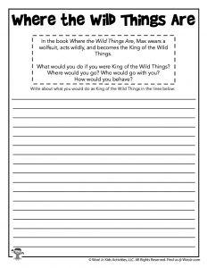 Wild Things Writing Comprehension Worksheet