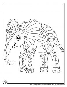 Elephant Adult Coloring Page Printable