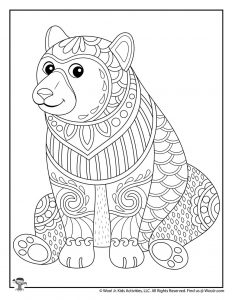 Bear Printable Coloring Page for Adults
