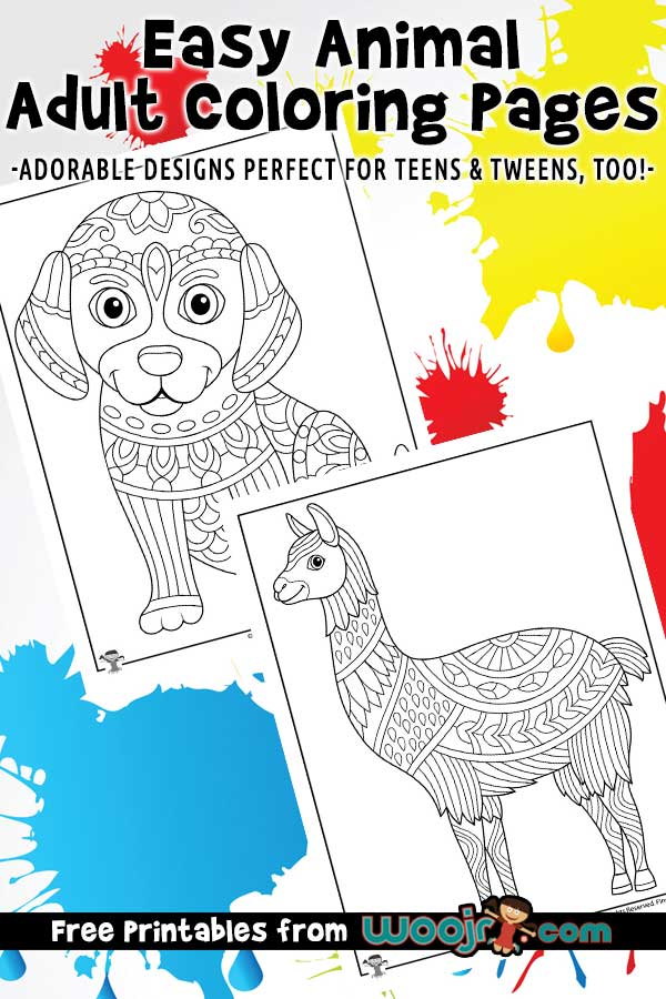 Animal Coloring Pages For Adults & Teens Woo! Jr. Kids Activities