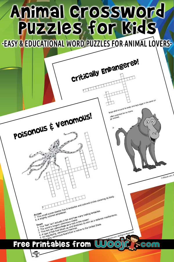 Animal Crossword Puzzles for Kids