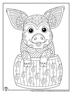 Cut Pig Difficult Coloring Page for Adults