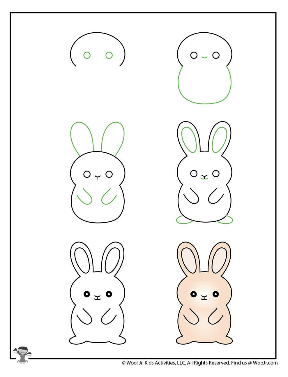 Bunny Drawing Step by Step Kids | Woo! Jr. Kids Activities