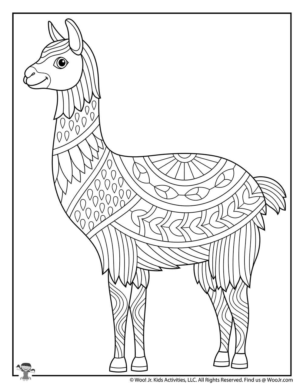 Llama Easy Adult Coloring Animals | Woo! Jr. Kids Activities