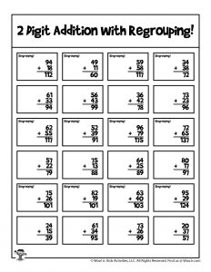 2 Digit Math Regrouping Practice Printout - KEY