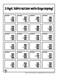 Math Subtraction Regrouping Practice Page - KEY