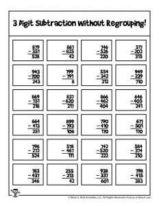 3 Digit Subtraction Math Worksheets - KEY