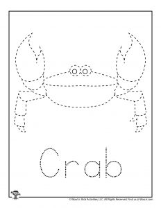 Ocean Crab Easy Tracing Worksheet