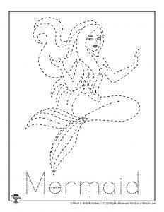 Mermaid Letter Tracing Practice Printable