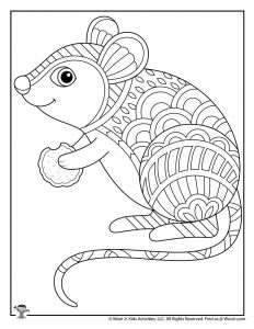Cute Mouse Adult Coloring Page to Print