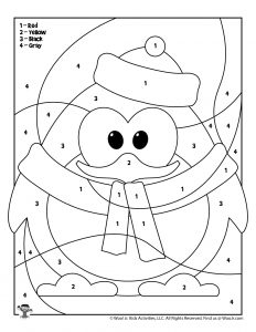 Penguin Color by Number Coloring Page