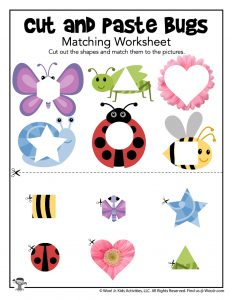 Cut and Paste Bugs Matching Worksheet