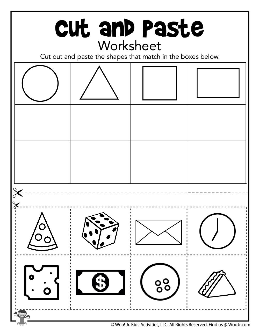 Cut and Paste Shape Sorting Worksheet | Woo! Jr. Kids ...
