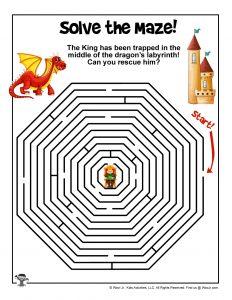 Free Printable Dragon Maze for Kids