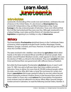 Juneteenth History Printable Part 1
