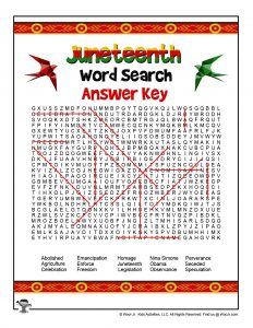 Juneteenth Word Search Answer Key